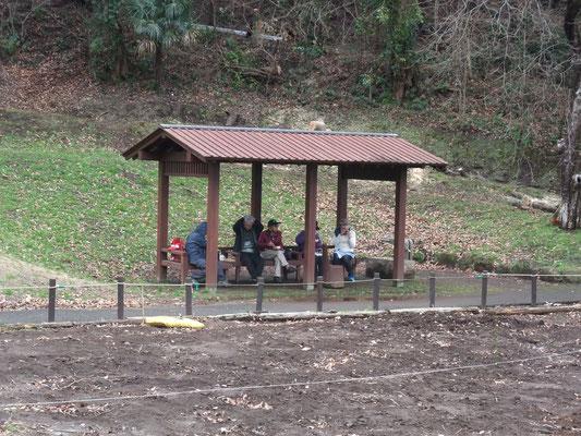 園内農園の東屋で昼食