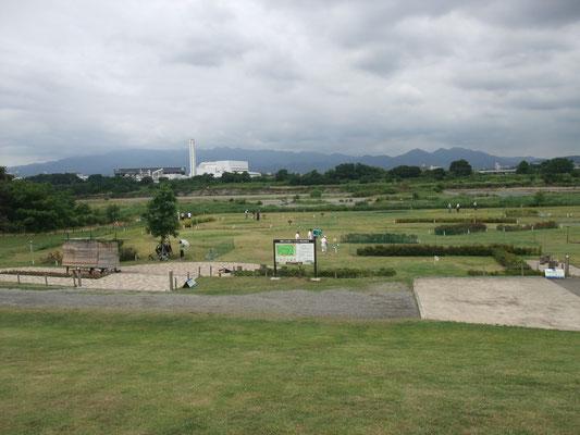 パークゴルフ場の彼方に大山が・・・