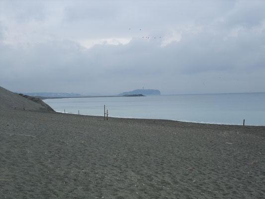 旅館裏庭からまっすぐに海岸に出る。
