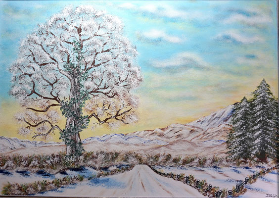 Der erste Schnee bedeckt das Land; 50x 70cm; Acryl auf Leinwand
