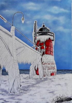 Leuchtturm im Eis; 70x 100cm; ÖL auf Leinwand