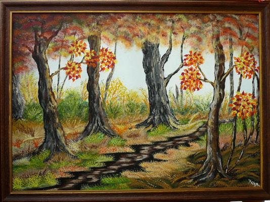 Herbstwald der Weg zum Ziel; 50x 70cm; Acryl auf Leinwand
