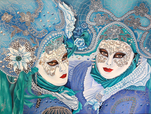 Venezianische Masken; 60x 80cm; Öl auf Leinwand