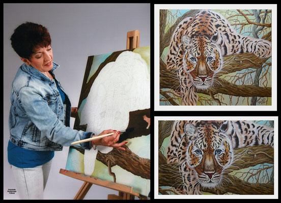 beim Malen meines Tigerbildes....