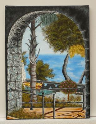 Torbogen zum Strand, nach einem unbekannten Künstler; 30x 40cm; Acryl auf Leinwand