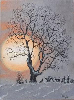 Das letzte Glitzern im Schnee; 30x 40cm; Acryl auf Leinwand