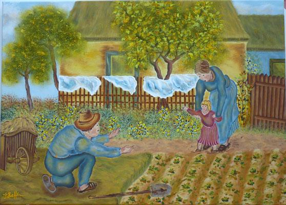 Ersten Schritte nach V.van Gogh; 50x 70cm; Acryl auf Leinwand