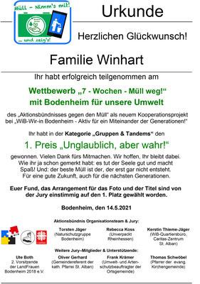 Urkunde Familie Winhart