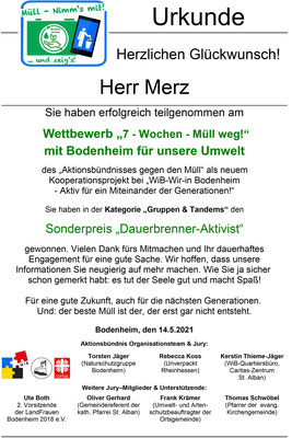 Urkunde Herr Merz