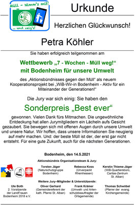 Urkunde Petra Köhler