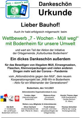 DANKE - Urkunde Bauhof