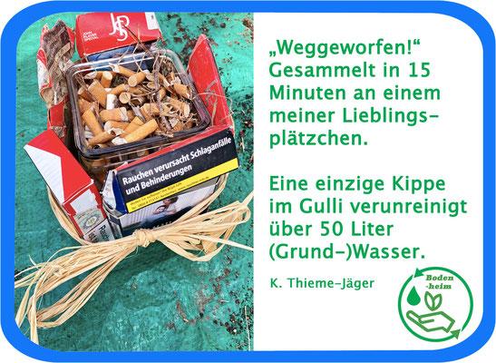#statement 2, Aktionsbündnis, 1 Kippe im Grundwasser vergiftet 50 Liter. Foto & Collage: K. Thieme-Jäger