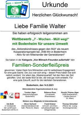 Urkunde Familie Walter