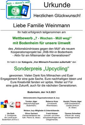 Urkunde Familie Weinmann