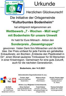 Urkunde Kulturbuntes Bodenheim - Toll, dass ihr mitgemacht habt.