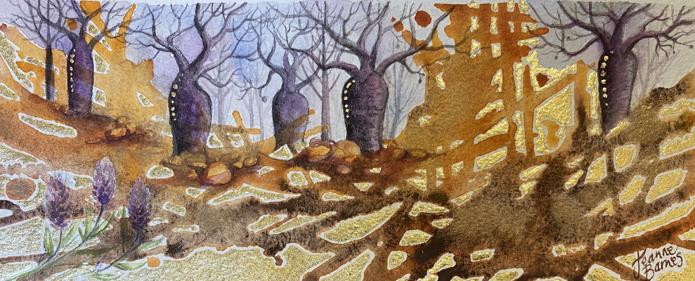 Boab Ridge      9.5x24cm     Watercolour and gold leaf on paper   $290   Requires framing