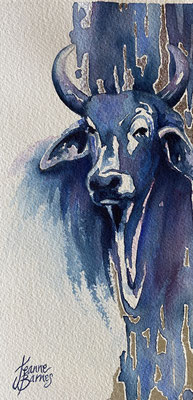 brahman bull 22x11cm watercolour and silver leaf on paper $350.  Requires framing