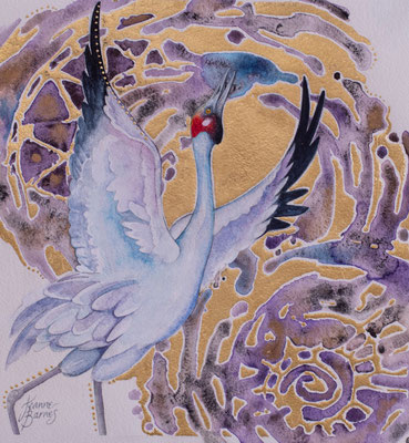 Brolga Ballet  33x33cm Watercolour and gold leaf on paper,  $750 Framed.  Available from Black Stump Gallery, Broome