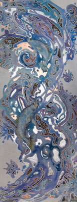 Bounty of the Ord        101 x 41 cm      Watercolour, metal leaf on stretched canvas, unframed     $3,900