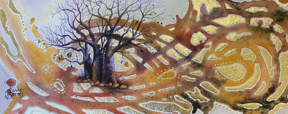 Gibb River Road Boabs    Watercolour and gold leaf on paper   $390   Requires framing