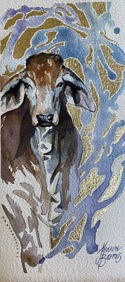 Weaner   22x11cm   Watercolour and gold leaf on paper $350.  Requires framing