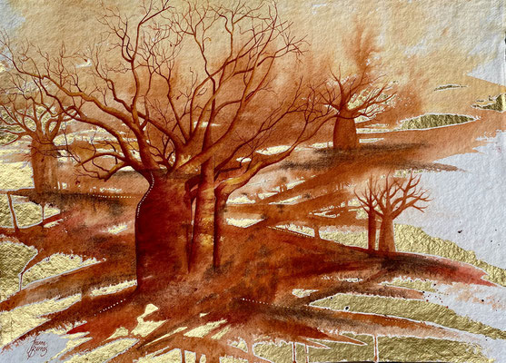 KImberley Sunset Gold 54x76cm Watercolour and gold leaf on paper $2900 unframed.