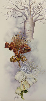 Moments in time  56x26cm Watercolour on Board  $2280 unframed or $2,500 framed.