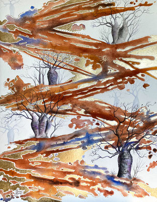 Outback Bush Tracks 65x50cm, watercolour and gold leaf on paper, SOLD