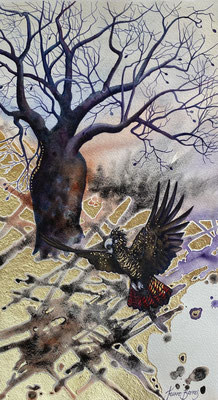 Kimberley Memories   25x 45cm      Watercolour and gold leaf on  paper .    SOLD
