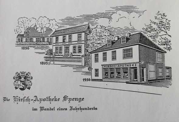Ansichtskarte - die Spenger Hirsch-Apotheke im Wandel der Zeit