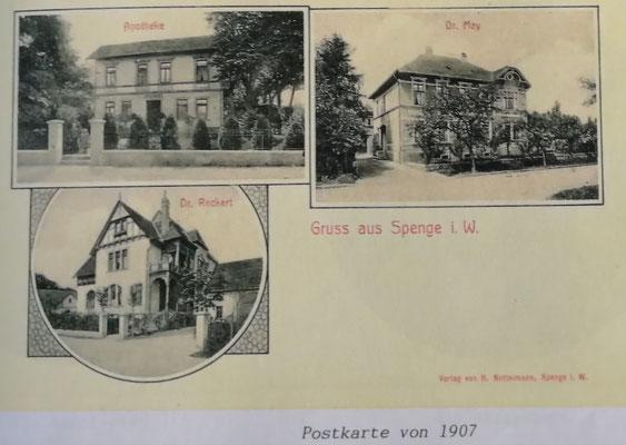 Ansichtskarte Spenge mit Hirsch-Apotheke oben links
