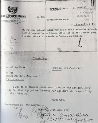 Genehmigung Arzneimittelbeschaffung für Hermann Rasch 1945, Foto: Archiv Rasch