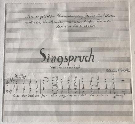 Singspruch von Hermann Rasch für die Chorvereinigung Spenge, Foto: Groeger-Archiv Spenge
