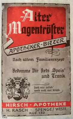 """Werbeaufdruck des """"Alten Magentrösters"""", Foto: Archiv Rasch"""