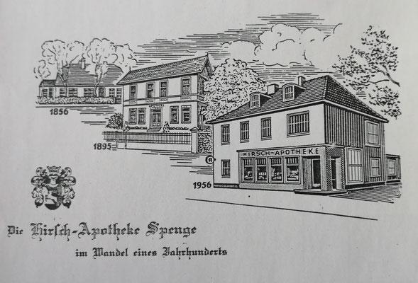 Ansichtskarte: Die Spenger Hirsch-Apotheke im Wandel der Zeit