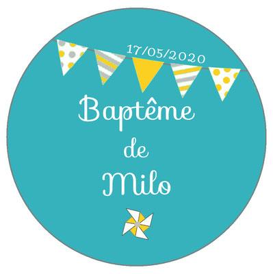 Déco de table baptême -fanions turquoise-