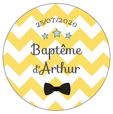 Déco de table baptême -chevrons jaunes-