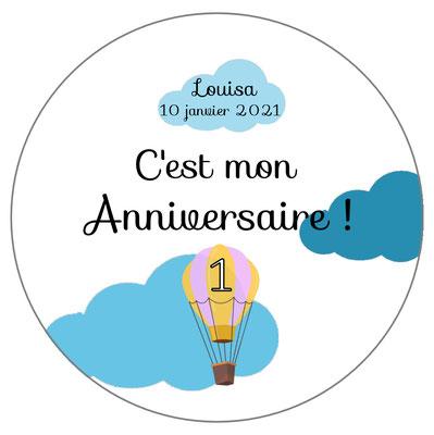 badge anniversaire montgolfière