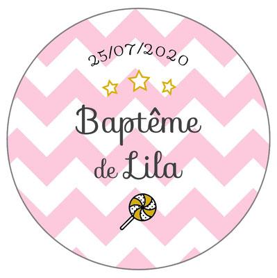 Déco de table baptême -chevrons roses-