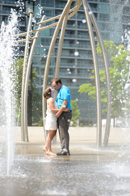 Jena and Kyle's Engagement Photography Session held Downtown, Columbus at the Scioto Mile Fountains