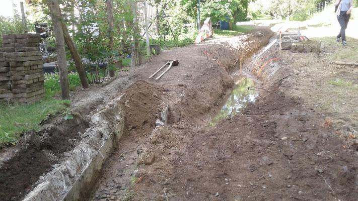 Während Bauarbeiten: Abbruch der Betonschale/Mauer und anschliessend Gerinneverlegung und Ausbau mit natürlichen Böschungen.