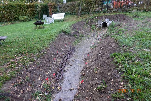 Natürlicher Auslaufbereich, eingebaute Faschine als Ufersicherung bei der Kurve und punktuelle Begrünung.
