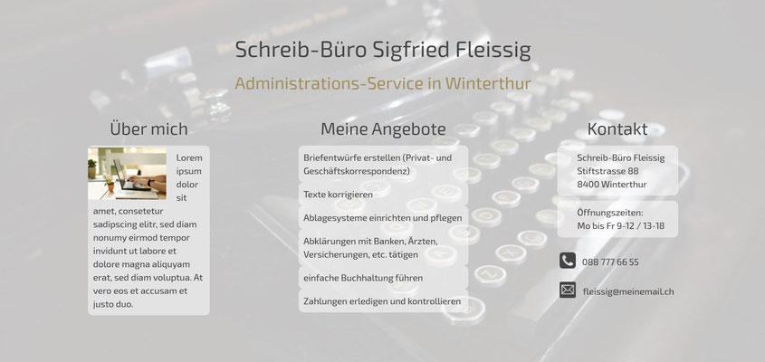 Beispiel-Webseite Administration