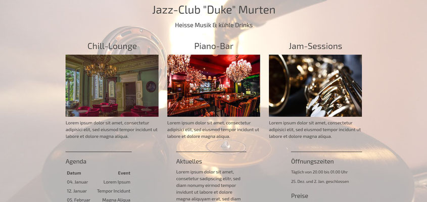 Beispiel-Webseite Club