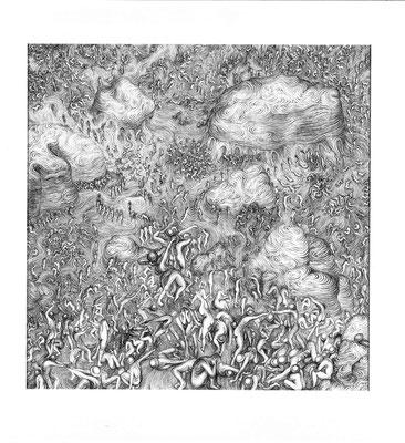 Triptychon-right/ 2006/ Ballpen On Paper/ 70 X 70 Cm