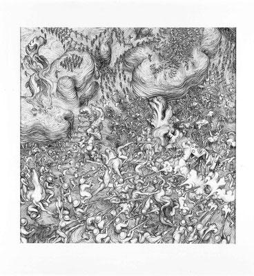 Triptychon-left/ 2006/ Ballpen On Paper/ 70 X 70 Cm