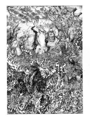 Triptychon-middle/ 2006/Ballpen On Paper/ 70 X 100 Cm