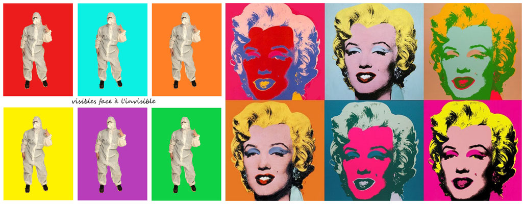 Christine et sa fille reprennent  l''œuvre d'Andy Warhol, Marilyn 1, coll. part.