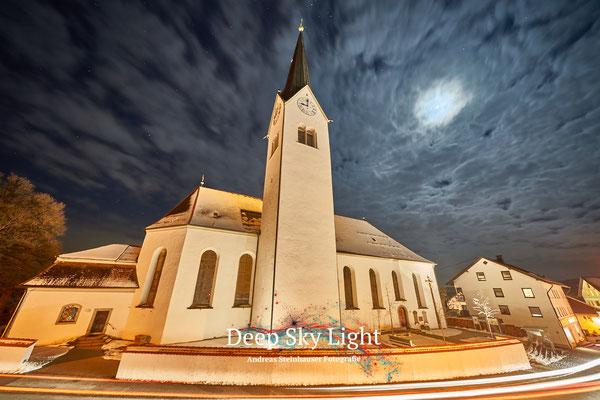 Kirche Buchenberg im Mondschein