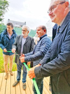 Vincent Scaillet Directeur de l'aquascope, Hubert Guerriat, Président de Mellifica, Denis Danvoye, Bourgmestre de Chimay et Alain Bouchat, Président de Virelles Nature (Aquascope)